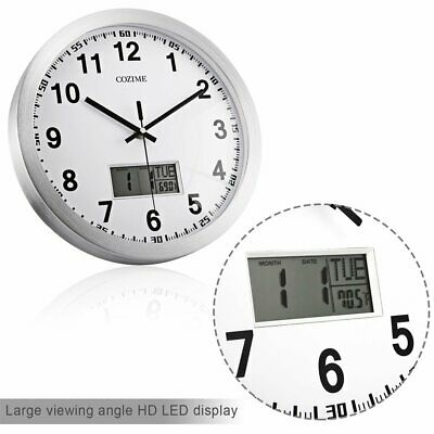 Smart 12 Inch In Designs Round Wall Clock & Thermometer With LCD Display