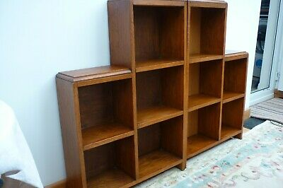 Pair of Antique Vintage Oak Bookcases Display Units