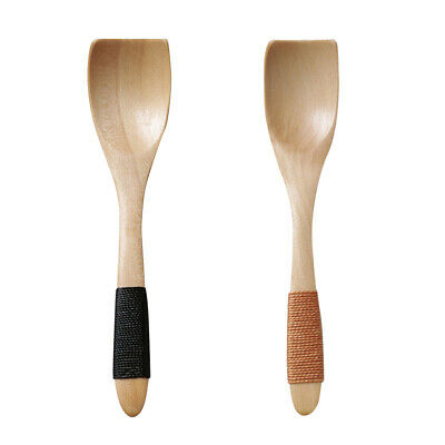 2 pcs Ice Cream Spoons Small Wooden Japanese Style Tableware for Restaurant Home