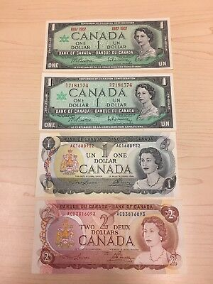 1967 to 1974 Set of 4 Canadian Banknotes $1, $2, High Grade