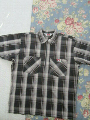 428faf519b Ben Davis Mens Large 1/4 Zip Black Plaid Short Sleeve Shirt Made in USA