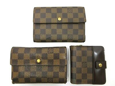 Authentic 3 Item Set LOUIS VUITTON Damier Wallet PVC Leather 70055