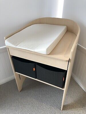Leander White-Washed Timber Baby Change Table with Matching Mat and Baskets