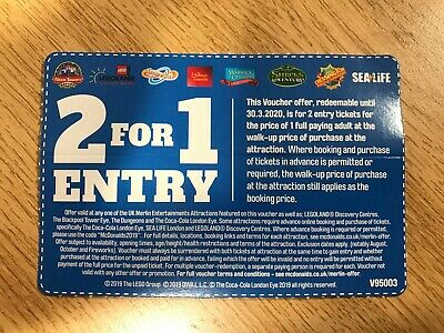 2 for 1 Merlin Entry - Alton Towers Legoland Thorpe Park Chessington Exp 03/2020