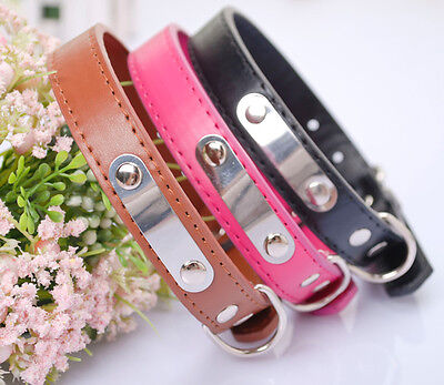 Leather Pets Dog Cat Puppy Collar Neck Buckle Neck Leash Strap Collar Adjustable