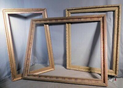 3 Antique Arts Crafts Mission 1920's carved Gilt Wood Picture Frame AS IS Art