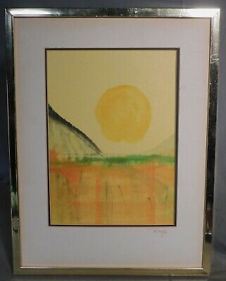 Vintage Modern RAIFE Japanese Style Abstract Painting 1960's COLOR Print