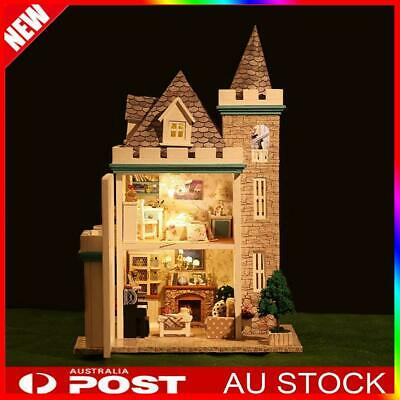 New Dollhouse Miniature DIY Kit Dolls House With Furniture Moonlight Castle AU