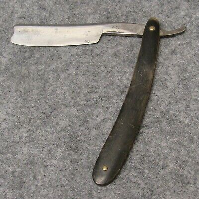 "Wade & Butcher Sheffield 6-1/2"" Mega Blade Straight Razor 3/4"" Blade Horn Handle"