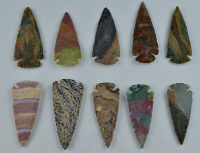 "**One 3"" Avg Flint Spear Point Arrowhead Project Art Knife Blade Lot AA**"