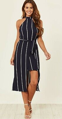 cheapest price Sales promotion get cheap AX PARIS NAVY white high neck Striped Dress Sleeve size 10 BNWT wedding  guest?