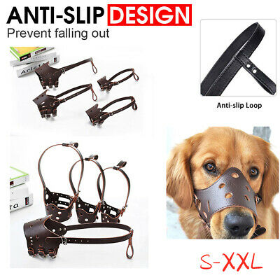 Large Medium Dog Pet Leather Muzzle Mouth Cover Anti Barking Biting Chewing OL