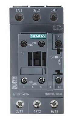 Siemens 3RT2036-1NB30 3 Pole Contactor, 50 A, 24 V ac/dc Coil - New