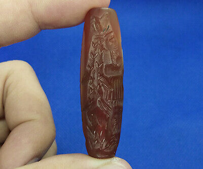 Near Eastern Agate Stone Intaglio God Egypt Lion Rolling Seal Tube Bead BT078