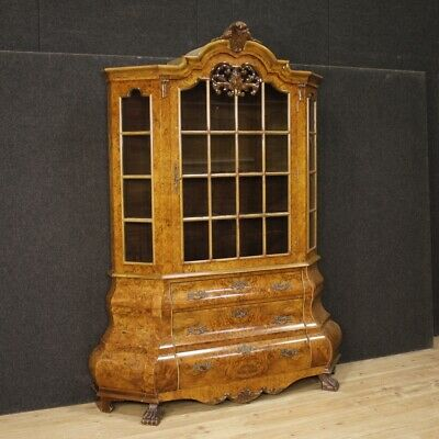Showcase Bookcase Cabinet Mobile Dutch Wood Wooden Antique Style Living 900