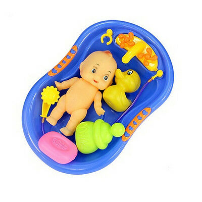 Baby Doll in Bath Tub With Shower Floating Fun Time Kids Pretend Role Play To fn