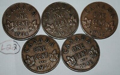 Canada 1932 1933 1934 1935 1936 George V 1 Cent Canadian Copper Coins Lot #L22