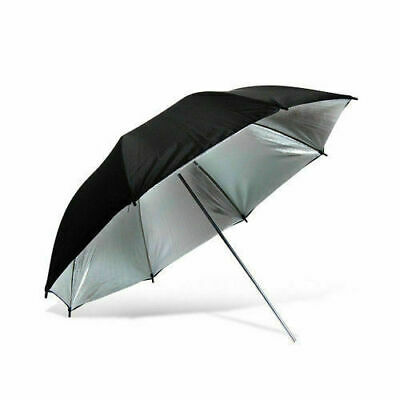 "Three Studio Flash umbrellas 33"" 83cm 1xBlack Silver Umbrella New and 2xWhite."