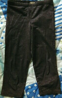 Girls black sparkly party cropped leggings age 8-9