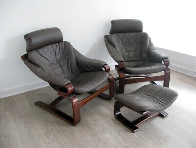 DANISH LEATHER SKIPPERS LOUNGE CHAIRS ARMCHAIRS OTTOMAN retro vintage heals 70s