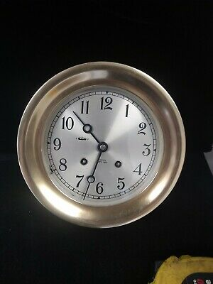 Chelsea Ships Bell Clock 6 inch silvered dial serial number 837381 brass time