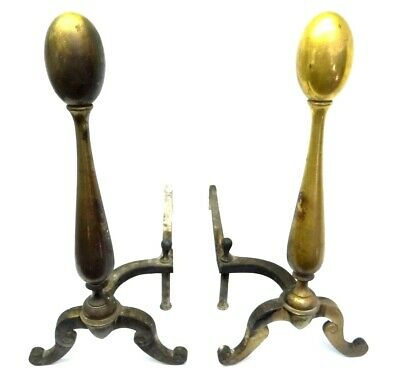 Vintage Pair Used Brass Iron Metal Chippendale Style American Fireplace Andirons