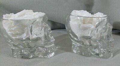 "AD LOT OF 2 Crystal Head Vodka Shot Glasses Skull Shaped Clear 2.25"" Glass Shots"
