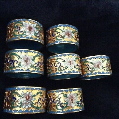 SET OF SIX PLUS two extra VINTAGE RUSSIAN CLOISONNE NAPKIN RINGS gilded !
