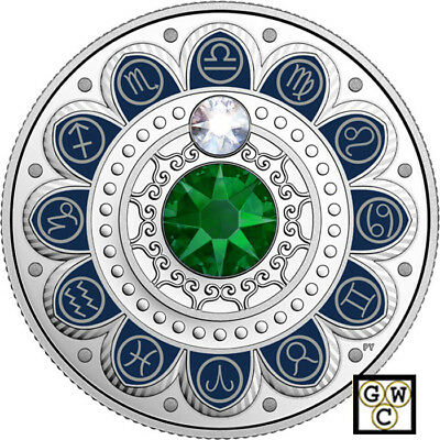 2017 'Libra- Zodiac Series' Crystalized Proof $3 Silver Coin .9999 Fine(18230)NT