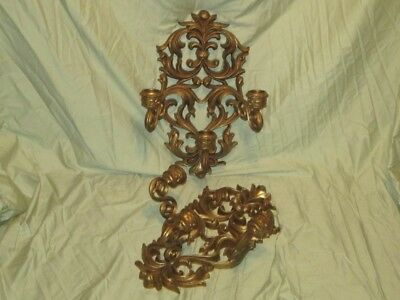 Large Ornate Pair Vintage BURWOOD Hanging Wall Candle Sconces Candle Holders