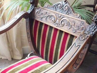 Lovely Antique Oak Carved X Frame Throne Chair