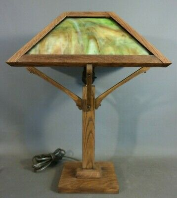 Antique ARTS & CRAFTS Era MISSION OAK Green SLAG GLASS Old PARLOR Desk LAMP