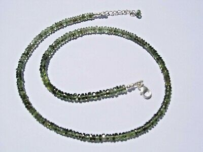 63.2 carats of nice checkered cut beads 4.5 x 2mm MOLDAVITE necklace 18 inches