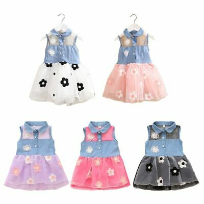 Baby Girls Princess Dress Kid Jean Denim Sleeveless Tops Tulle Tutu Sundress