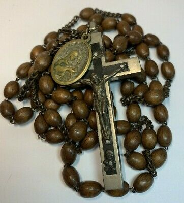 † Scarce Xl Vintage Franciscan Crown  7 Decade Rosary Mori Cross St Clare Medal†