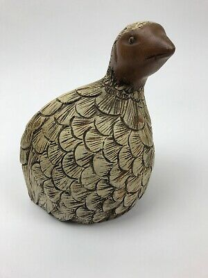 Handcarved Painted Wooden Quail Partridge Bird Decor