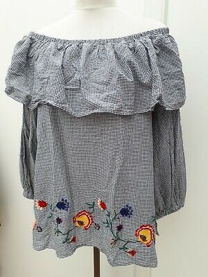 81dfc26faf0 Zara Ladies Size M 12 14 Blue White Gypsy Top Bardot Floral Embroidery  Summer