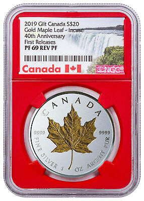 2019 Canada 1 oz Silver Maple Leaf Incuse Gilt Reverse NGC PF69 FR Red SKU57227