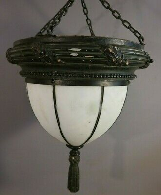 LG Antique ART DECO Era TRAIN STATION Style OPALESCENT GLASS Hanging CHANDELIER