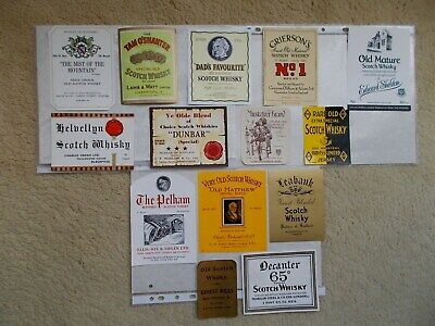14 OLD ENGLISH MERCHANTS SCOTCH WHISKY BOTTLE LABELS (incl JERSEY before 1914) C