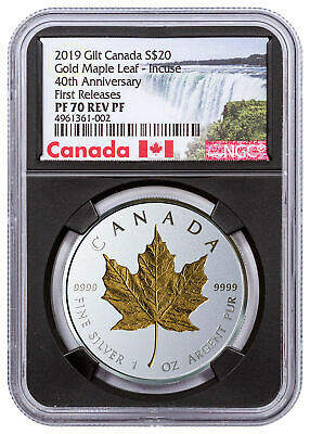 2019 Canada 1oz Silver Maple Leaf Incuse Gilt Reverse NGC PF70 FR Black SKU57230