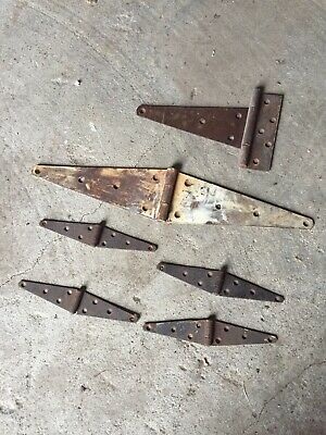 Lot of 6 Rustic Vintage Barn Strap Hinges Metal Door Gate Rusted Iron