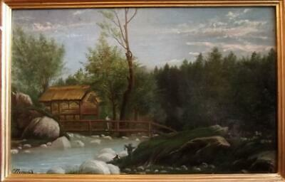 Antique 19th Century French Primitive Folk River Landscape Oil Painting SIGNED