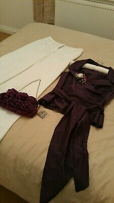 Coast wedding outfit / Races taffeta  purple top cream trousers bag and corsage
