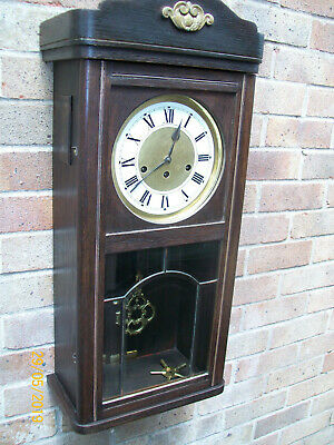 Antique Dark Wood Lg Wall Clock with rare Unghans- Wurttemberg Movement /Working