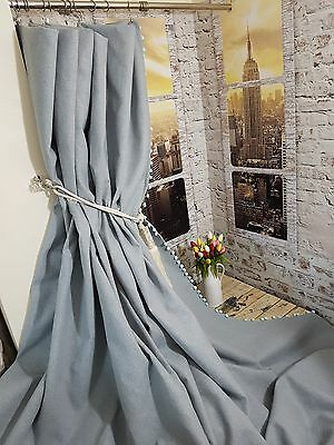 "NEW Heavy Bespoke Wool Designer Duck Egg 52""W 113""Long Lined Pom Pom Curtains"