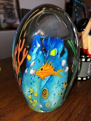 Large THE REEF Don Bagwell Signed HAND BLOWN GLASS PAPERWEIGHT 1997