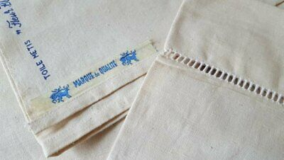 Vintage French Toile Metis Linen Fleur Bleue Sheet Curtain Fabric XL 240 x 325