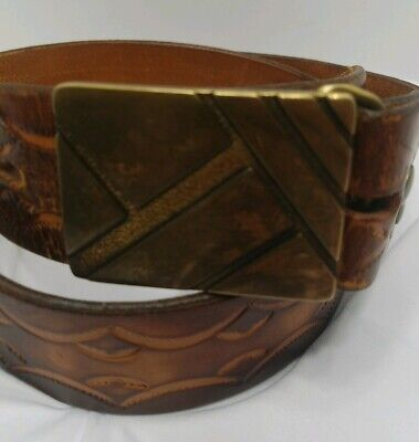 VINTAGE - BTS - SOLID BRASS - BELT BUCKLE 1978 - TOOLED LEATHER - USA 41in.