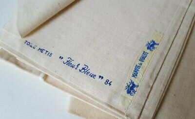 Vintage French Toile Metis Linen Fleur Bleue Sheet Curtain Fabric Lrg 220 x 300